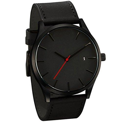 Herren Klassisch Quarzuhr, Keepwin Manner Minimalistisch Low-key Lederband Uhren Analoge Freizeit Armbanduhr (Schwarz A)