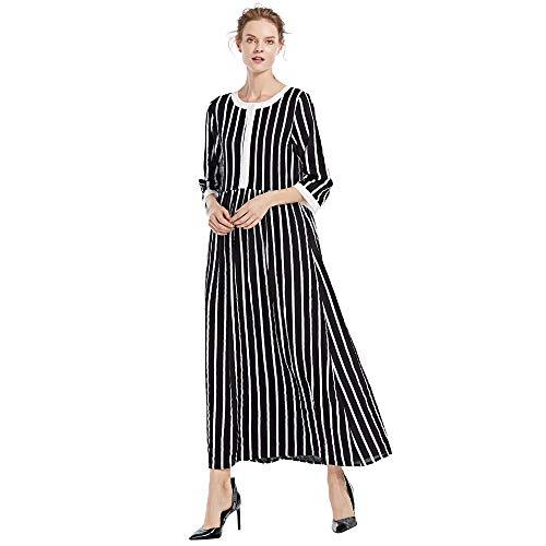 Elecenty Damen Vintage Maxikleid Frauen England Lose Leinenkleid -
