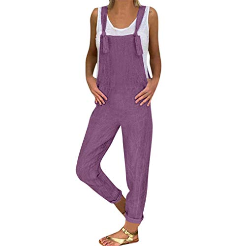 hose Damen Jumpsuits Freizeit Leinen Long Playsuit Latzhose Pluderhosen Overall Sommerhose Lange Wide Leg Hosen Casual Bib Hose ()