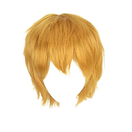 ODJOY-FAN Anime Perücke Cosplay Perücke Fasching Mehrfarbig Kurz Gerade Haar Perücke Anime Party Cosplay Voll verkaufen Perücken 35 cm Wig(Gold,1 PC) -