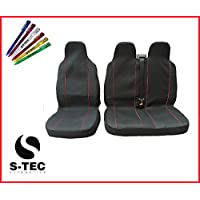 CITROEN RELAY RELAY 2006 - S-tech Comfortable Premium Deluxe Black With Red Piping Van Seat Covers 2+1 | FREE S-TECH PEN preiswert
