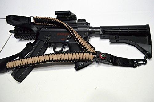Acido Tactical® 550 ParaCord-Corda da paracadute a tracolla per fucile, dotata di bussola & silice Paintball, 127 cm, colore: marrone/nero - Paintball Gun Slings