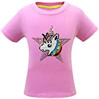 Thombase Girls Magic Glitter Reverse Sequin Top Color Changing Kids Girls Unicorn T Shirts (pink1, 120(4-5years))