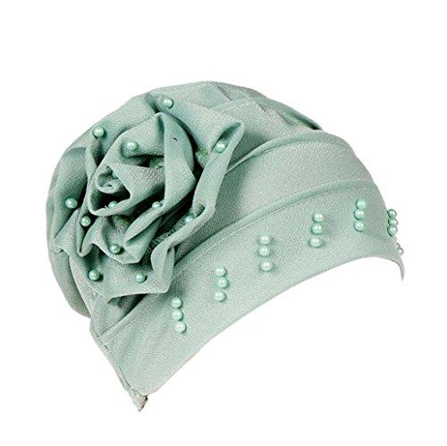 URSING Damen Kopftuch Muslim Ruffled Cancer Chemo Mütze Schal Turban Wrap Cap Stylish Elegan Blumen Indien Hut Multifunktionstuch Kopfbedeckung für Chemo, Krebs, Make up (Grün)