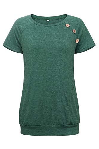 mit Rundhalsausschnitt für Damen mit V-AusschnittDamen Rundhals Tasche Knopf Kurzarm Dunkelgrün M ()