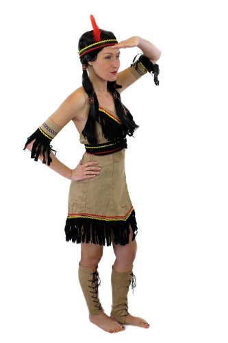 DRESS ME UP Tolles Set: Kostüm Damen Damenkostüm Indianerin Squaw Indianerfrau Feder L019 XS