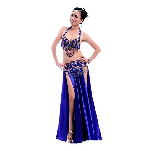 Designs Kostüm Tanz Strass - Royal smeela Frauen Bauch Tanz-Kleidung Strass Sexy Kleid BH/Gürtel/, dunkelblau