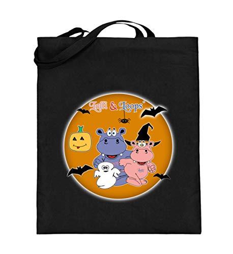 Nilpferde Feiern Halloween - Süße Geschenkidee Für Kinder - Jutebeutel (mit langen Henkeln)
