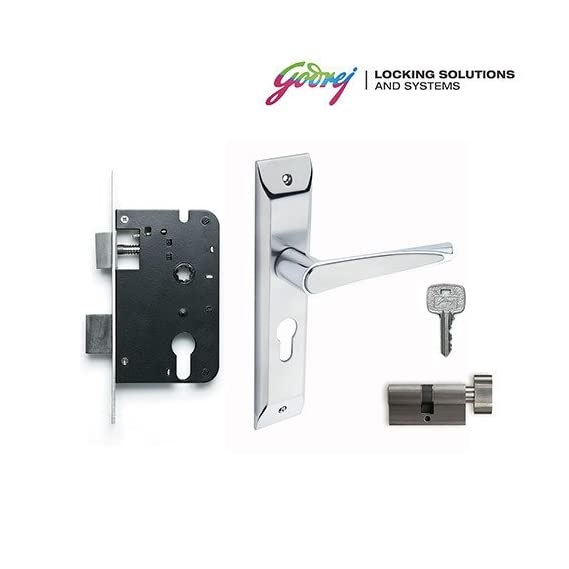 Godrej NEH 09 1CK Zinc Alloy Door Handle Set with Lock Body and Cylinder, 20cm