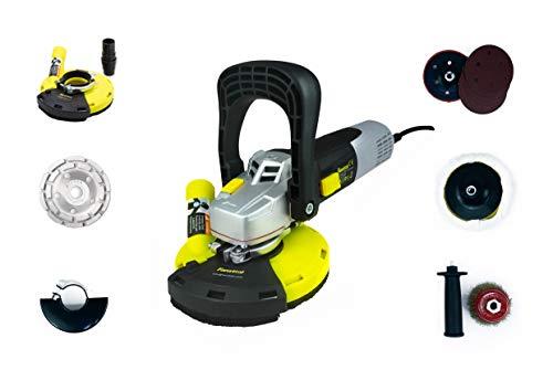 FANZTOOL Multischleifer Betonschleifer Winkelschleifer Sanierungsfräse 1400W Set mit Absaughaube + Schleifteller + Metallbürste + Sandpapier, mit Drehzahlregelung (Mit Drehzahlregelung Motor)