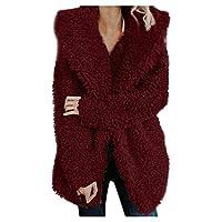 TIMEMEAN Womens Fleece Coat Ladies Teddy Bear Jacket Open Front Cardigan Outerwear with Pocket Wine XL