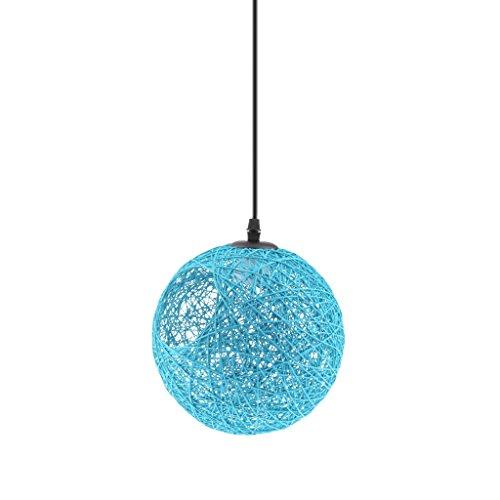 LOVIVER Lámpara de Araña Luz de Techo Forma Globo Colgante con Cuerda de Ratán Decoración para Sala de Estar Hotel Corredor Pasillo - azul