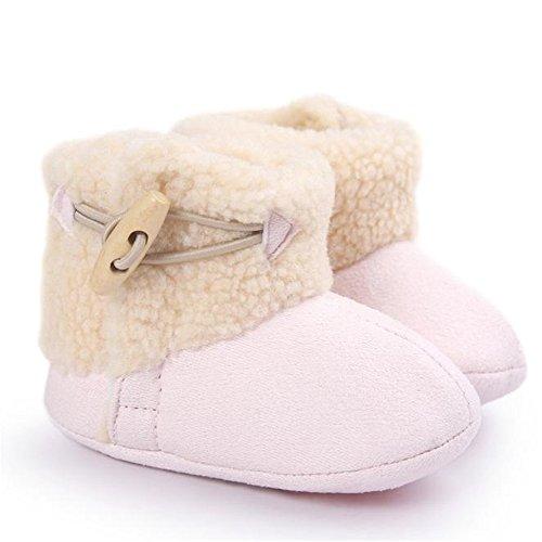 FEITONG Baby weiche Sohle Art und Weiseschnee Aufladungen halten warme weiche Krippe Kleinkind Schuhe (12 ~ 18 Monat, Grau) Rosa