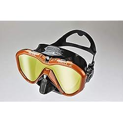 Seac Italica Masque Monoverre pour la plongée Professionnelle, Les Loisirs ou l'apnée, de Haute qualité fabriqué en Italie Adulte Unisexe, Noir LS/Orange Metal, Regular Fit