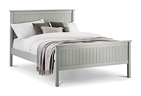 Happy Beds Maine Modern Dove Grey Wooden Bed Frame Only 4'6'' Double 135 x 190 cm