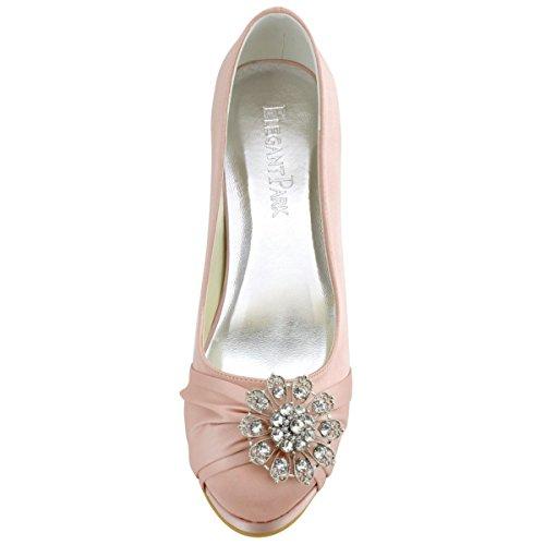 ElegantPark EP2015-PF Satin Plateforme Aiguille Talon Pumps Bout Ferme Fleurs Strass Diamant Boucles Chaussures Escarpins de Mariee Bal Rose