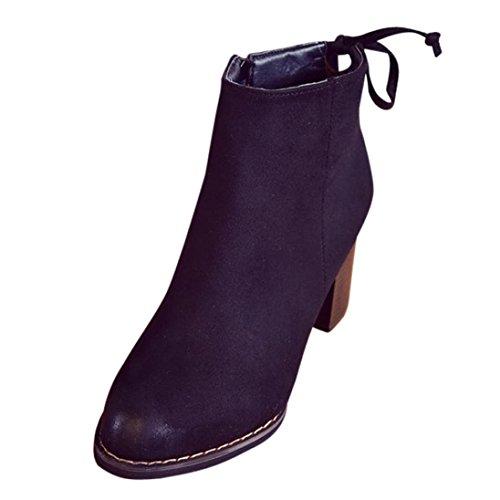 FEITONG Damen Stiefeletten | Plateau Boots | Blockabsatz Schuhe 70s Look | High Heels Schuhe (EU:37.5, Schwarz) (Leder-look Riemchen Schwarzer)