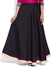 Very Me Women's Designer Black Faux Silk Solid Plain Skirt
