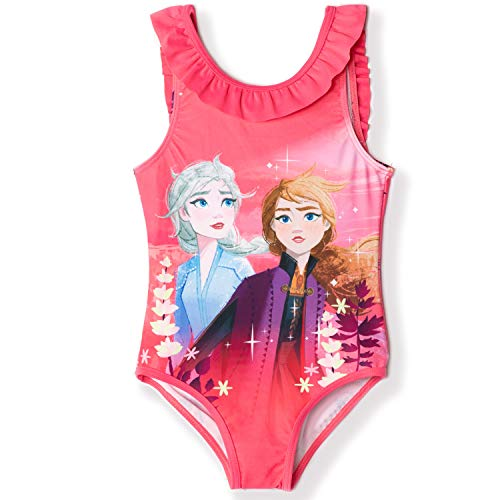 Disney Frozen 2 - Bañador Oficial para niña 3 a 8 años, diseño de Elsa y Anna Rosa Rosa Oscuro...