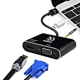 Nandi Multiport HDMI to HDMI 4K VGA Adapter Cable with Audio Output Converter Supports 4K 1080P for Thinkpad Laptop,Dell Laptop,PC Host Graphics Card,Project and All Your HDMI Enabled Devices-Schwarz