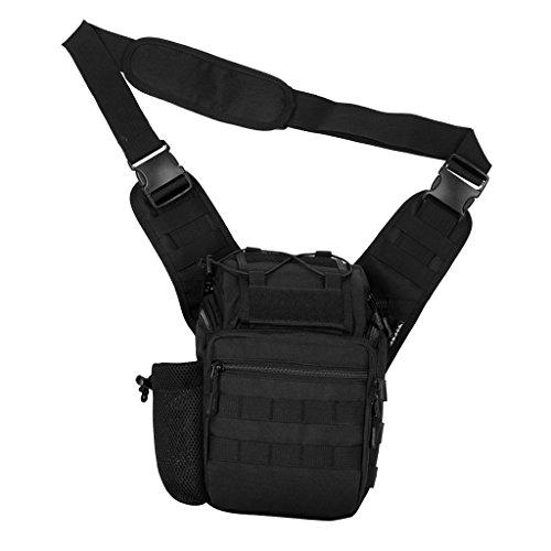 MagiDeal Molle Umhängetasche Outdoor Taktische Schultertasche mit verstellbarem Schultergurt, Camping Wandern Trekking - Outdoor Shoulder Pack Schwarz
