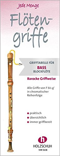 Jede Menge Flötengriffe: Grifftabelle für Bassblockflöte barocke Griffweise