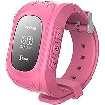 Reloj de ninos - SODIAL(R)Reloj Localizador GPS Reloj inteligente Reloj inteligente de ninos Anti-Desaparecido para Android y iPhone (rosado)