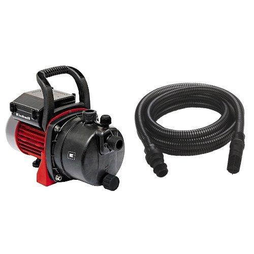 Einhell 4180280 Bomba de agua de trasvase GC-GP 6538, capacidad 3800 l/h, presión 3.6 bar, 650 W, 220 - 240 V, color rojo y negro & 4173645 - Manguera de aspiración, plástico, negro, 7 m