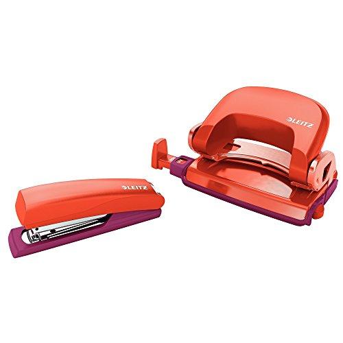 Leitz 55996024 Mini-Heftgerät-und Locher-Set (für bis zu 10 Blatt, Inkl. Heftklammern, Urban Chic) rot