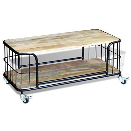 vidaXL Table Basse 100 x 50 x 35 cm Bois de manguier Massif Table d'appoint