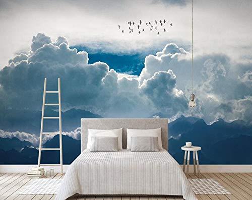 Pared Abstract Modern Minimalistic Wolken Sky Birds 3D Wallpaper, Wohnzimmer Sofa Tv Wall Kinderzimmer Küche Wandgemälde, 150 × 105Cm (Halloween Wallpaper Abstract)