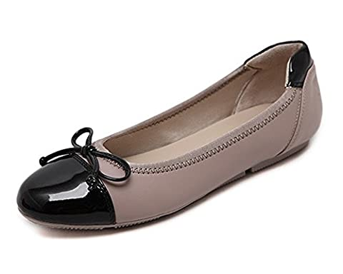 Minetom Confortable Chaussures Femme Bowknot Ballerines Tête Ronde Couleur Mixte Plat Chaussons Abricot EU