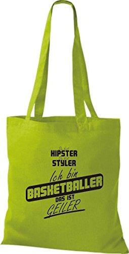 Shirtstown Stoffbeutel du bist hipster du bist styler ich bin Basketballer das ist geiler kiwi