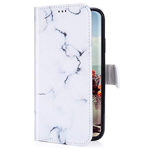 Uposao Kompatibel mit LG G8 ThinQ Hülle mit Bunt Muster Motiv Brieftasche Handyhülle Leder Schutzhülle Klappbar Wallet Tasche Flip Case Ständer Ledertasche Magnet,Weiß