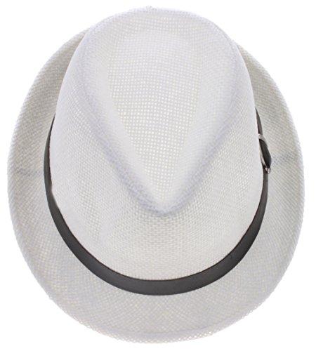 HENG SONG Donna/Uomo Paglia Jazz Estate Spiaggia Sole Cappello Berretto Hats Caps (Bianco)