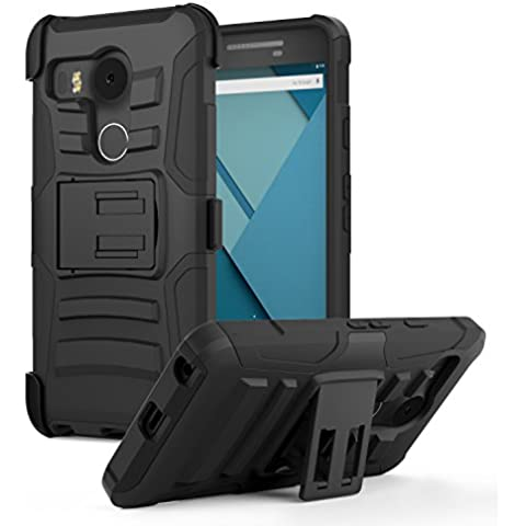 LG Nexus 5 2015 Phone Funda - MoKo [Heavy Duty] Full Body Rugged Holster Funda para Swivel Belt Clip - Dual Layer Shock Resistant Con Google Nexus 5 by LG 5.2 Inch Smartphone 2015 Edition, NEGRO