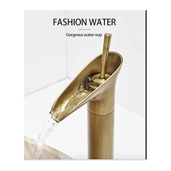 aquieen Single Lever Basin Mixer Tap with Provision for Hot and Cold Water (Antique Brass)