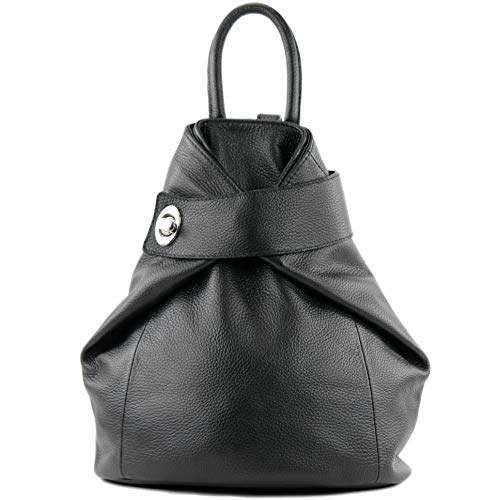 modamoda de - T179 - ital: Damen Rucksack Tasche aus Leder, Farbe:Schwarz