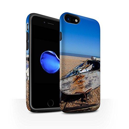 STUFF4 Matte Harten Stoßfest Hülle / Case für Apple iPhone 8 / Hütte Muster / Britischen Küste Kollektion Altes Boot