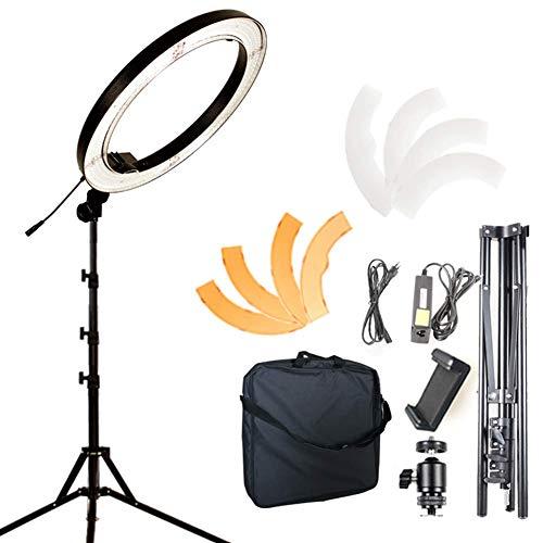 Z-SANMAO 18 Zoll Ringlicht/mit Stativ, Kamera Video Foto Ringlicht 18 Zoll/ 55W/ 5500K Dimmbares LED-Ringlicht, Diffusor + Telefon-Halter für Video, Make-Up, Porträt und Fotografie 55 Video-kamera