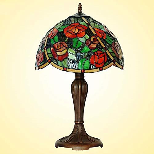 WY-LIGHT 12 Zoll Schreibtischlampe Tiffany Stil Tischlampe Hochzeit Schlafzimmer Nachttischlampe Abschrägung Rose Farbe Glasleselampe -
