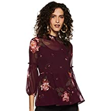 Styleville.in Women's Floral Regular Fit Top (STSF401582-Marsala-S)