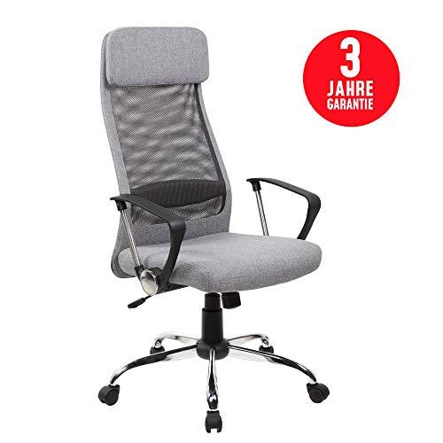 Inova Design Bürostuhl ergonomisch Bequemster Netz Bürodrehstuhl mit Armlehne und Kopfstütze Bürostuhl 150 kg Belastbarkeit Verstellbarer Schreibtischstuhl Ergonomisch Computersessel Grau