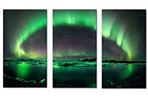GREEN NORTHERN LIGHTS POLAR AURORA Large 3 Panel Multi Set Large Gallery Framed Canvas Art Print Ready To Hang Hand Made In The UK