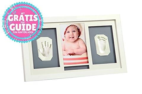 Cadre pour photo bébé + Kit Empreinte Main et Pied - Moulage Argile - Coffret Cadeau Naissance - Souvenir Deco Bebe et Keepsake - Photos 10x15 - Idée cadeau originale pour le baptême - par