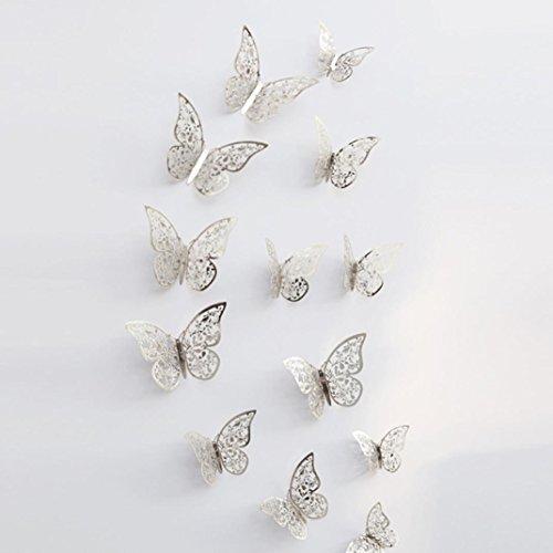 Dragon868 12 pezzi 3d cavo parete adesivi farfalla frigorifero per la decorazione domestica nuovo (f)