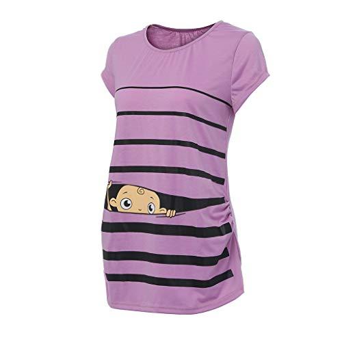 Damen Bequem Umstands Tops, LeeMon Mutterschaft niedliche lustige Baby Print gestreiften Kurzarm T-Shirt Schwangere Tops (Niedliche Bh Training)