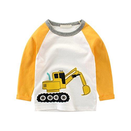Ärmel Länge T-shirt (Luerme Kleinkind Kinder Jungen Baumwoll T-Shirt Karikatur Fahrzeug Muster Beiläufiges Lange Ärmel Tops (4-5 Jahre, Bagger))