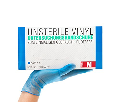 Vinylhandschuhe 100 Stück Box (M, Blau) Einweghandschuhe, Einmalhandschuhe, Untersuchungshandschuhe, Vinyl Handschuhe, puderfrei, ohne Latex, unsteril, latexfrei, disposible gloves, blue, Medium