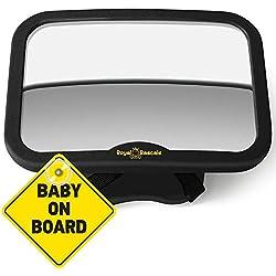ROYAL RASCALS - Miroir de voiture pour bébé - Le rétroviseur LE PLUS SÛR pour surveiller votre bébé sur le siège arrière - NOIR - Convient à tout appuie-tête - Inclinable et orientable